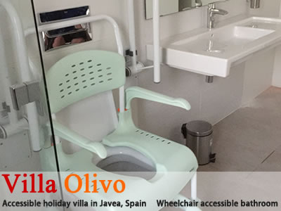 Wheelchair accessible bathroom in Spanish holiday villa