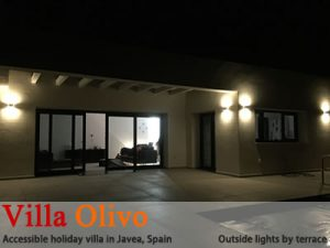 Outside lights on terrace at disabled holiday villa