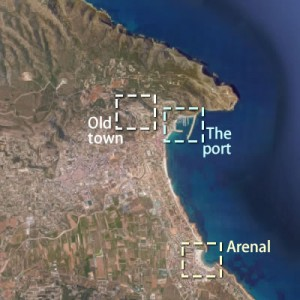 Map of the three areas of Javea
