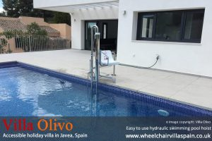 Disabled holiday villa with easy access swimming pool hoist