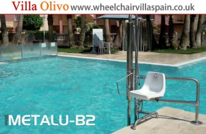 Swimming pool hoist at disabled access villa in Spain