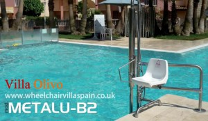 Disabled holiday villa with easy access swimming pool hoist.