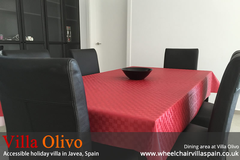 Dining area at disabled holiday villa