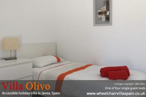 One of four single beds at Villa Olivo