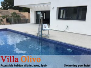 Wheelchair adapted villa + pool hoist