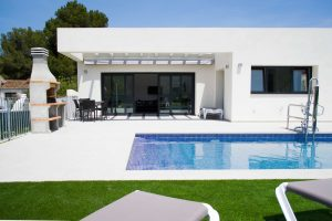 Terrace and pool area of Villa Olivo a disabled access holiday villa in Javea, Spain