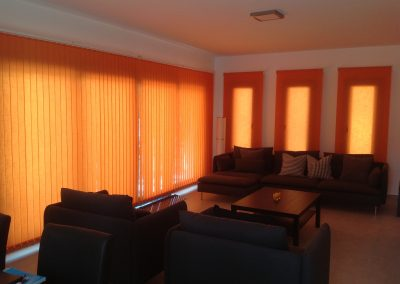 Inside of villa with blinds drawn