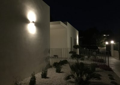 Villa Olivo at night with the lights on