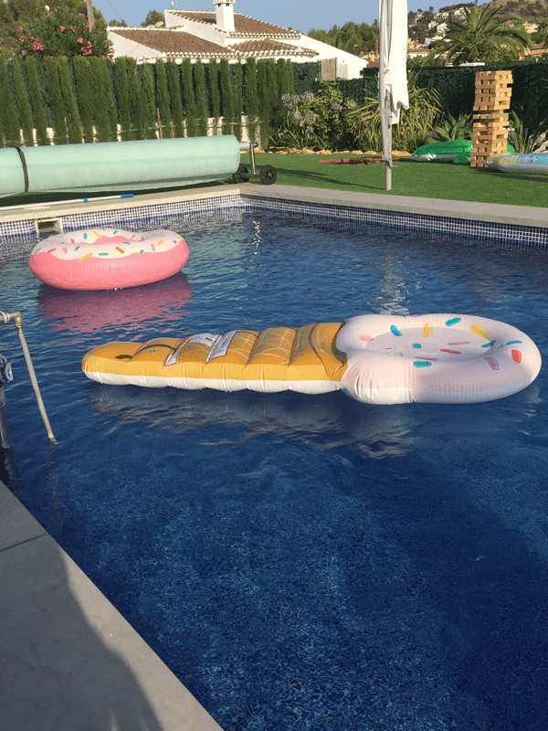 Inflatables in swimming pool