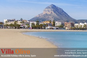 Arenal accessible beach for wheelchairs Javea Costa Blanca Spain