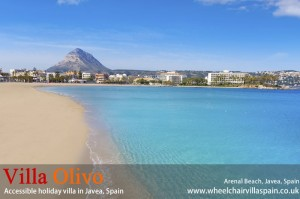 Arenal beach Javea with Mount Montgo in distance